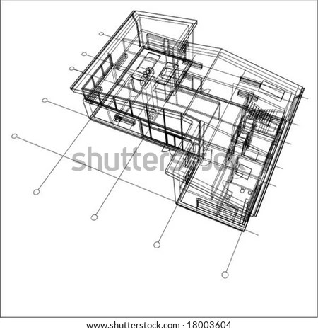 Vector 3d Building Wire Frame Stock Vector 6596926