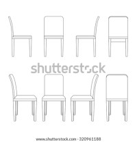 Chair Illustration Outline Perspective 3d Front Stock ...