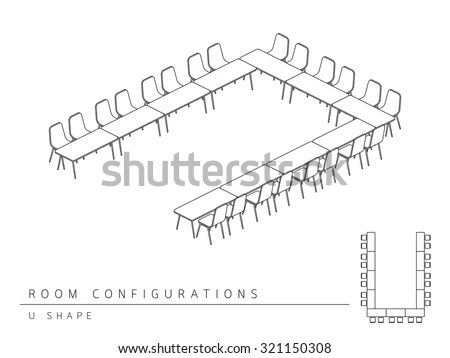 Meeting Room Setup Layout Configuration U Stock Vector