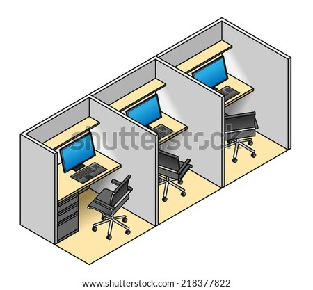 office cubicles - stock vector