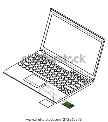 Cartoon Vector Outline Illustration Laptop Computer Stock