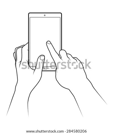 Tablet Touch Gestures Pull Down Refresh Stock Vector