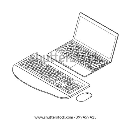 Lineart Detailed Isometric Drawing Laptop Computer Stock