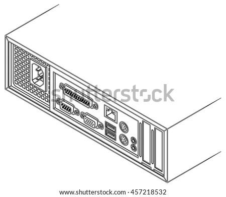 Back Small Form Factor Sff Desktop Stock Vector 457218514