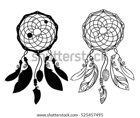 Hand Drawn Dreamcatchers Beads Feathers Decorative Stock