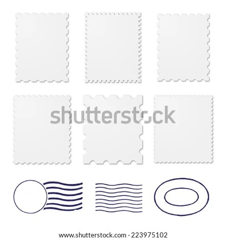 Set Rubber Stamp Characters Least Five Stock Vector