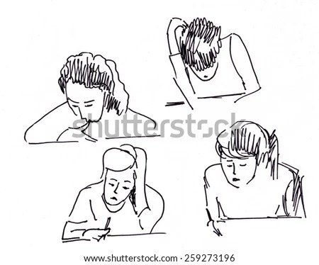 Pencil Drawing Vector Technician Stock Vector 219904390
