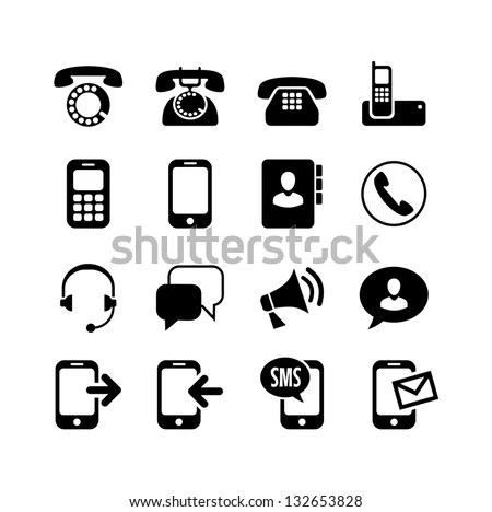 16 Icons Set Communication Call Phone Stock Vector