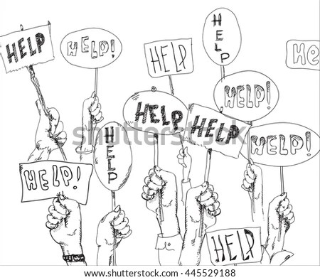 Illustration Human Hands Holding Help Banners Stock Vector
