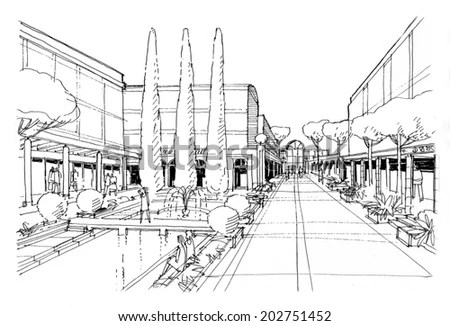 Digital Sketch Old Alley City Stock Illustration 211242046