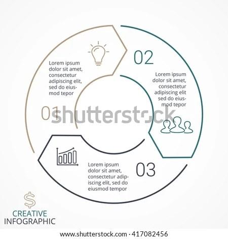 Circular Infographics Flat Pie Chart Graph Stock Vector