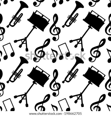 Musical Seamless Pattern Music Notes Treble Stock