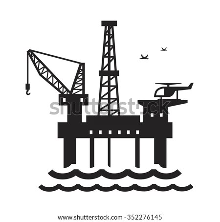 Vector Black Oil Platform On White Stock Vector 352276145