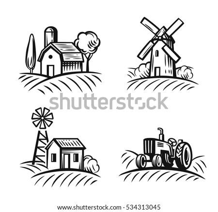 Vector Black Farm Field On White Stock Vector 534313045