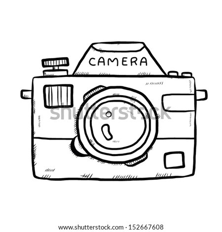 Classic Camera Cartoon Vector Illustration Hand Stock