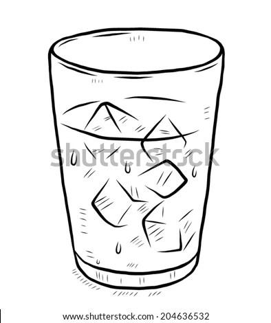 Glass Cool Water Ice Cartoon Vector Stock Vector 204636532