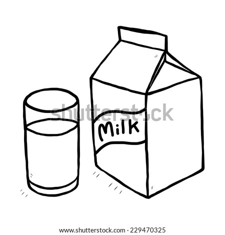 Glass Milk Milk Carton Cartoon Vector Stock Vector