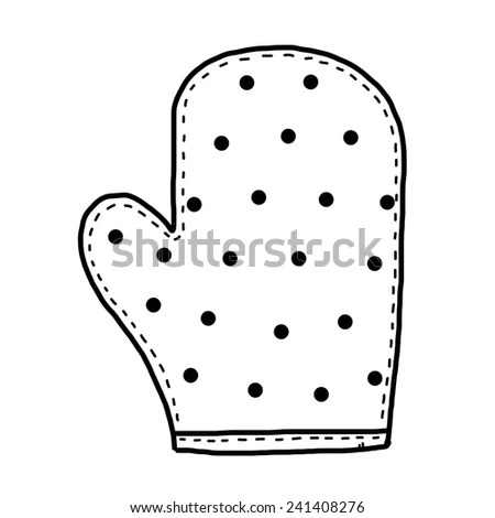 mitten glove / cartoon vector and illustration, black and