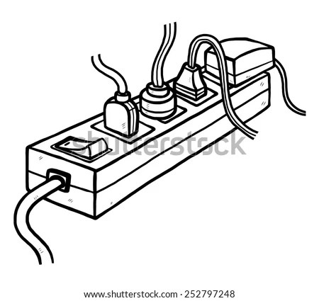 Many Plugs Electric Socket Cartoon Vector Stock Vector