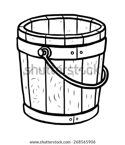 Cartoon Wood Bucket Stock Photos, Images, & Pictures