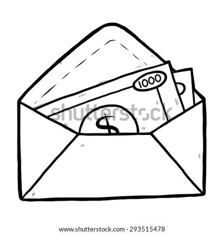 Money Envelope Cartoon Vector Illustration Black Stock