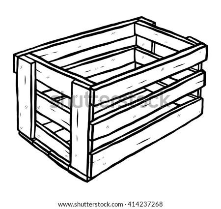 Wooden Box Cartoon Vector Illustration Black Stock Vector