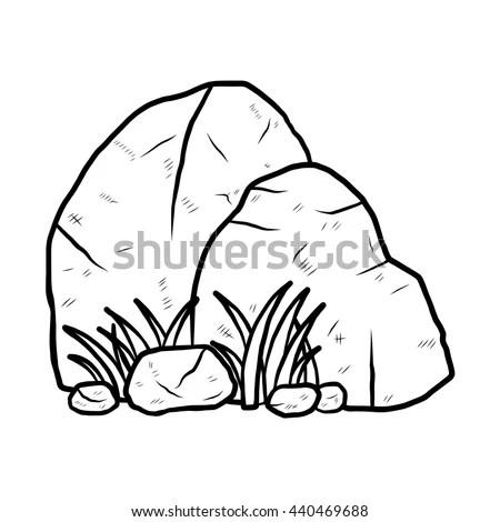 Stone Cartoon Vector Illustration Black White Stock Vector