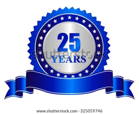 25 Years Anniversary Silver Color Seal Stock Vector