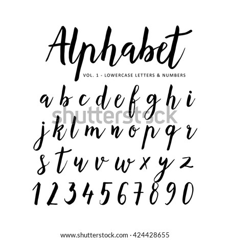 Hand Drawn Handwritten Vector Alphabet Brush Image