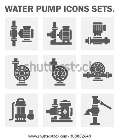 Vector Icon Electric Water Pump Steel Stock Vector
