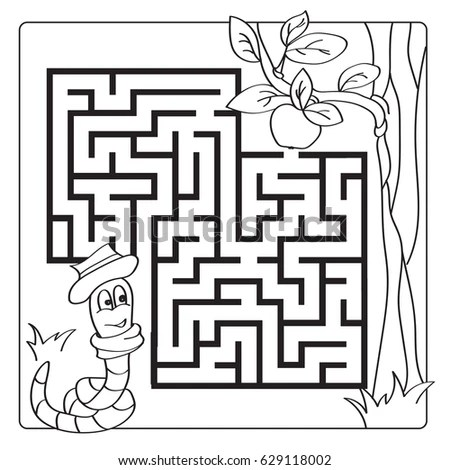 Labyrinth Maze Kids Entry Exit Children Stock Vector