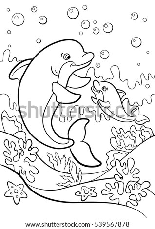 Coloring Pages Marine Wild Animals Mother Stock Vector