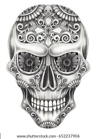 Art Skull Cross Day Dead Hand Stock Illustration 155668736