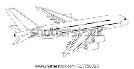 Plane Commercial Jet Aeroplane Flying Isolated Stock