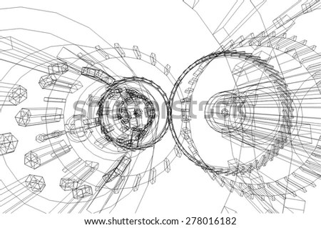 Micrometer Compass Ruler On Technical Drawings Stock Photo