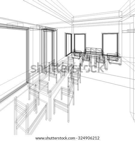 Meeting Office 3d Rendering Sketch Stock Illustration