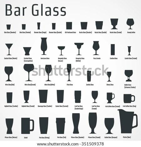 Vector Illustration Silhouette Set Bar Glass Stock Vector