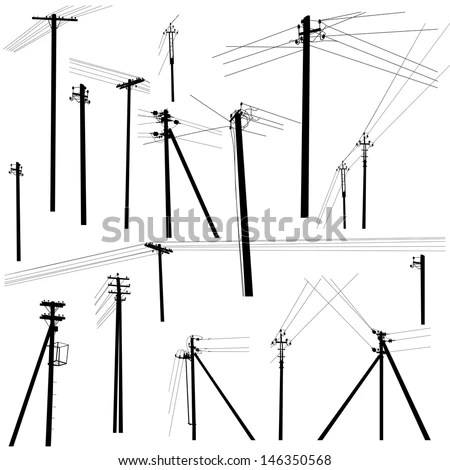 Set Silhouettes Electric Poles Stock Vector 146350568