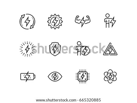 Energy Electricity Related Vector Icon Set Stock Vector