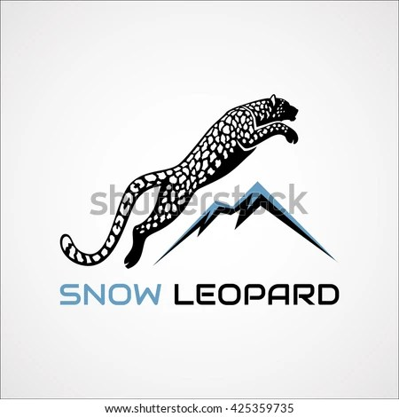 Leaping Snow Leopard Mountains Sign Logo Stock Vector