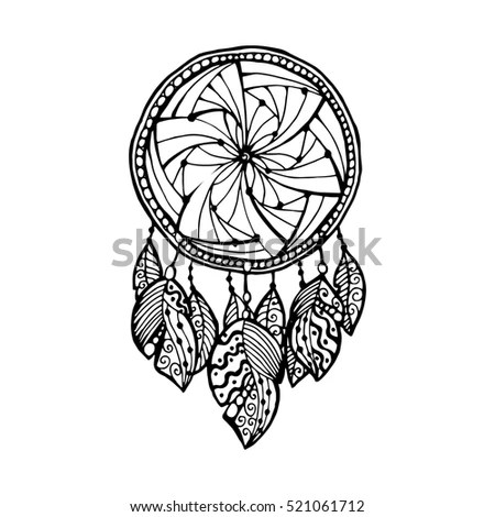 Zentangle Dream Catcher Feathers Adult Anti Stock Vector