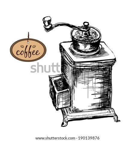 Hand Drawn Coffee Set Coffee Mill Stock Vector 569732485