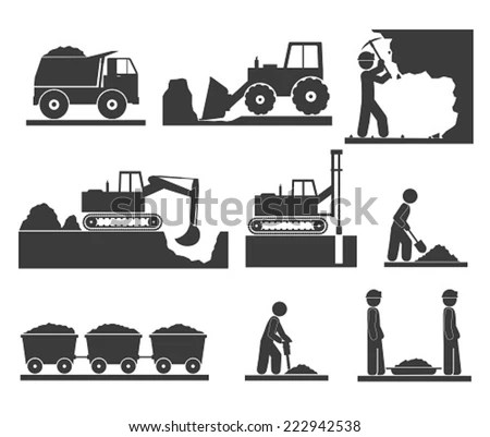 Construction Earthworks Icons Mining Quarrying Stock