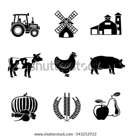 Set Farm Freehand Icons On Chalkboard Stock Vector