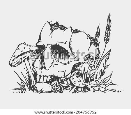 Farmer Plowing Field Illustration Stock Vector 40506067