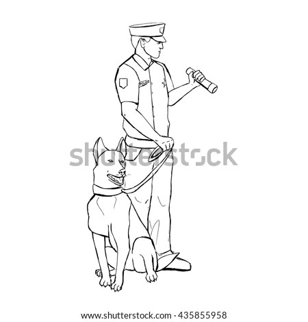 Police Officer Dog Hand Drawn Vector Stock Vector
