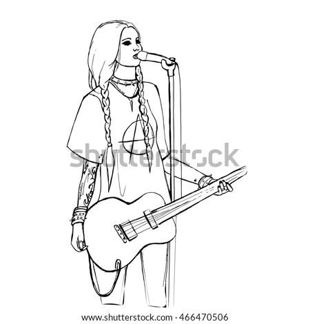 Rock Girl Guitar Rock Star Hand Stock Vector 448628257