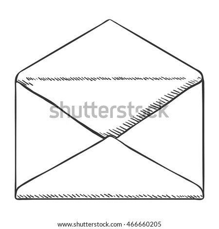 Vector Single Sketch Open Postal Envelope Stock Vector