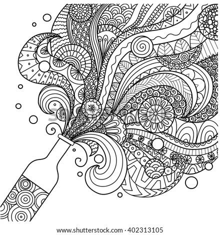 Champagne Bottle Line Art Design Coloring Stock Vector