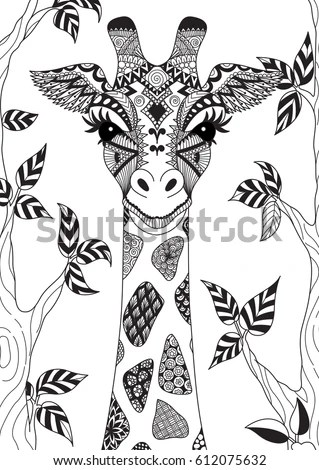 Line Art Design Abstract Giraffe Adult Stock Vector